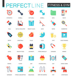 set of flat sport fitness icons vector image