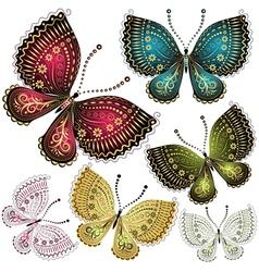 Set vintage butterflies vector image vector image