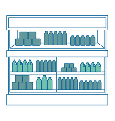 Supermarket fridge with products vector