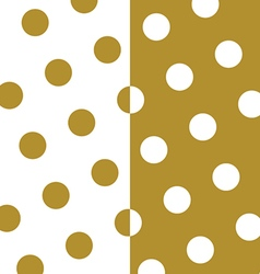 Gold and white polka dots pattern and texture set vector image vector image