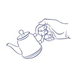 keep teapot in hand vector image