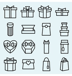 Set of linear icons packaging and gift box vector image vector image