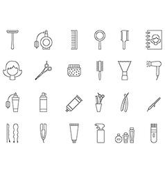 Barbershop black icons set vector image