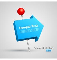 Blue arrow pushpin 3D vector image vector image