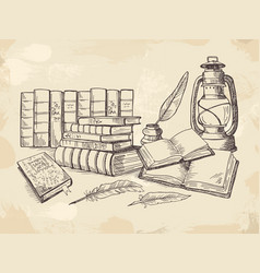 composition from old handwriting books vector image