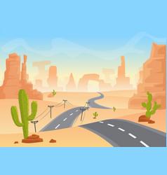 desert texas landscape cartoon desert with vector image vector image