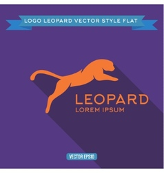 Logo wild felines into flat icon vector image