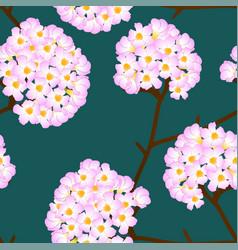Pink trumpet flower on green background vector