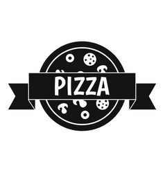 pizza label with ribbon icon simple style vector image vector image