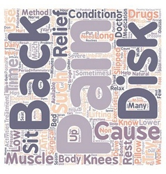 Back Pain Relief text background wordcloud concept vector image vector image