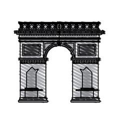 Color crayon stripe cartoon monument arch antique vector