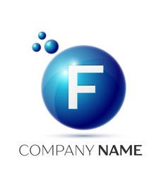 F letter splash logo blue dots and circle bubble vector