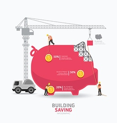 Infographic business piggy bank shape template vector image