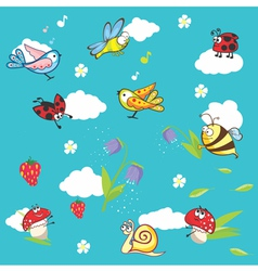 Marine blue background with insects and flowers vector image
