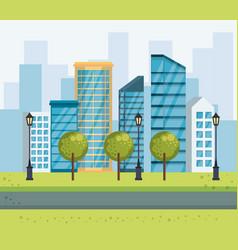 park urban cityscape scene vector image
