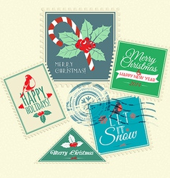 Set of Christmas postal stamps vector image vector image