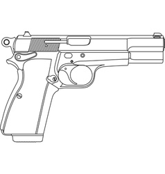 wireframe gun pistol vector image vector image