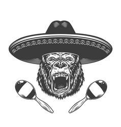 Angry gorilla head in sombrero hat vector