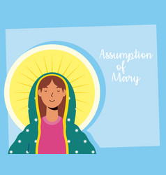 Assumption beautiful mary virgin with lettering vector