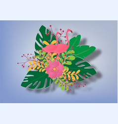 Background with flamingo and leaves and flowers vector
