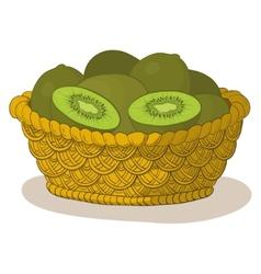 basket with kiwi fruits vector image vector image