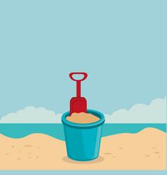 beach landscape with sand bucket scene vector image
