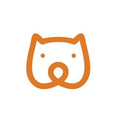 bear head monoline icon vector image
