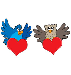 birds with hearts vector image