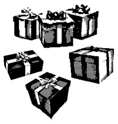 black 8-bit set of gife box with ribbon vector image