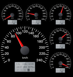 Black speedometer scales kilometers per hour vector