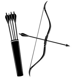 Bow arrow and quiver icon vector
