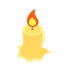 Burning candle isometric 3d icon vector image