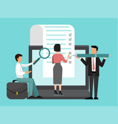 business people team fill out a big form with vector image