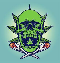 cannabis green skull smoke vector image