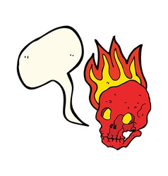 Cartoon flaming skull with speech bubble vector