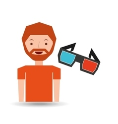 cartoon man icon glasses cinema graphic vector image