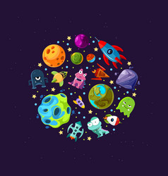 cartoon space planets and ships vector image
