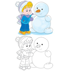 Child makes a snowman vector image
