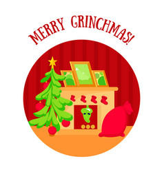 christmas room with tree fireplace and gifts in vector image
