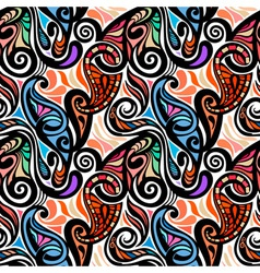 Colorful abstract seamless paisley pattern vector