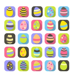 Colorful Easter symbols set eggs icons vector