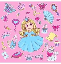 Cute princess sticker set vector
