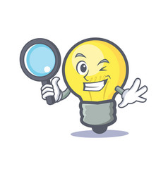 Detective light bulb character cartoon vector