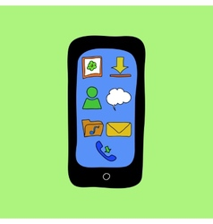 Doodle style phone with apps icons vector image