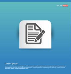 edit document icon - blue sticker button vector image