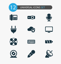 electronics icons set with mic cloudtech vector image