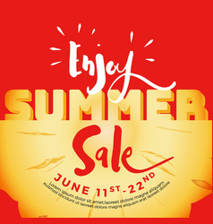 Enjoy summer sale typography on carved pineapple vector