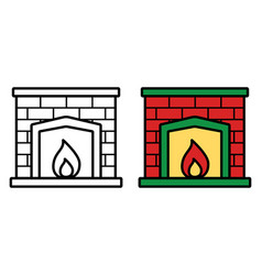 fireplace icon on white background vector image