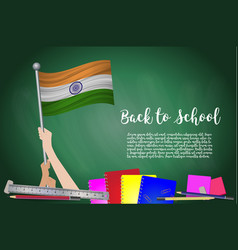 flag of india on black chalkboard background vector image
