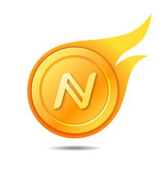 Flaming namecoin symbol icon sign emblem vector